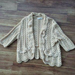 Dessbarn XL Gold Metallic Open Front Knit Cardigan
